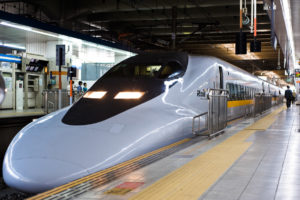 Bullet train at Fukuoka railway station, Japan, East Asia.